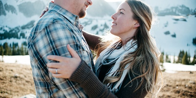 Sunny Mountain Engagement in Wyoming