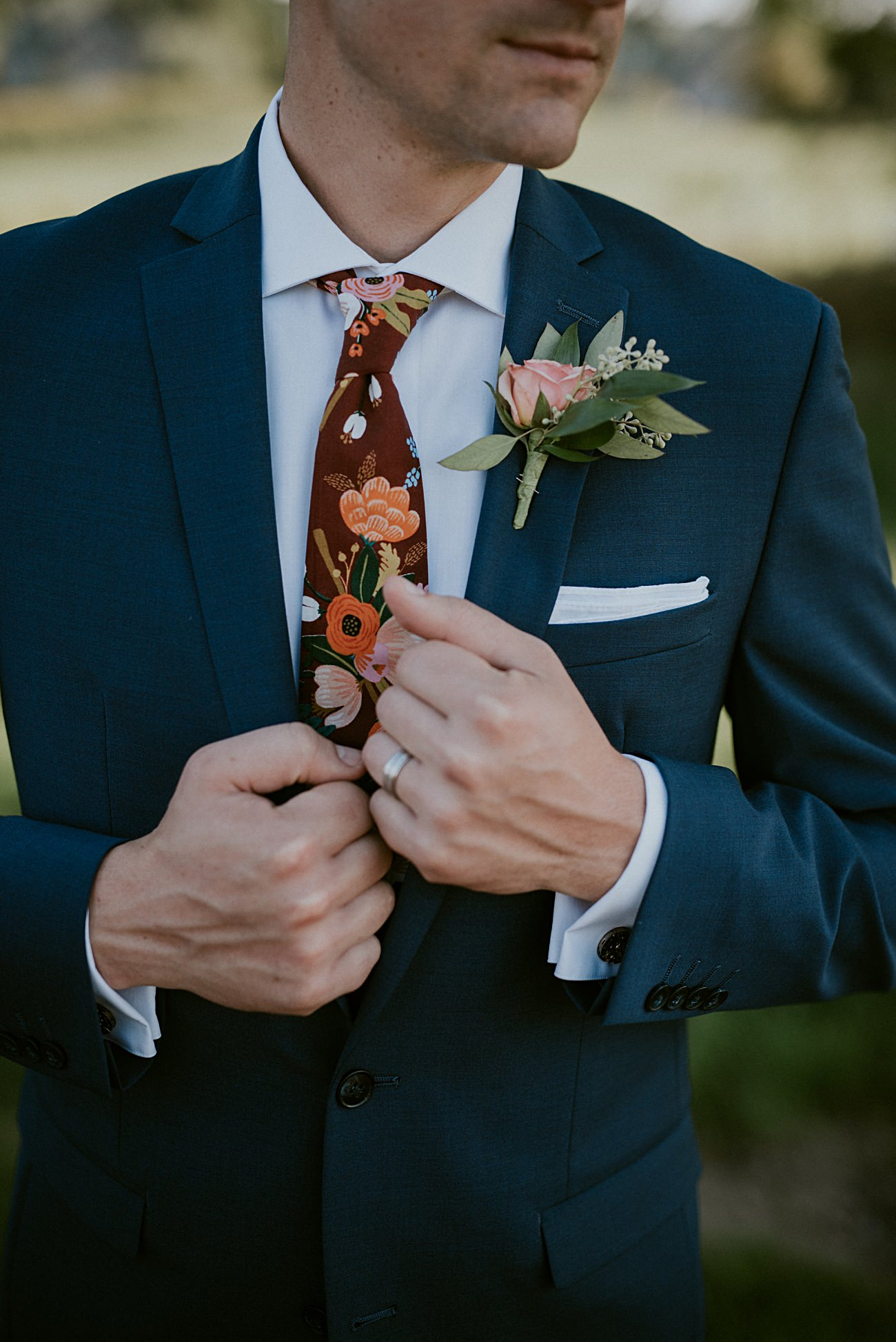 navy groom suit, navy groomsman suits, floral ties for wedding party, wedding details