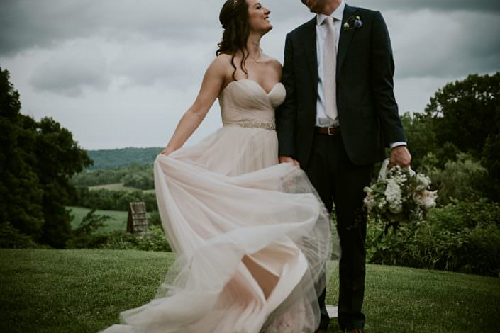 rainy day wedding in Wisconsin, blush wedding dress