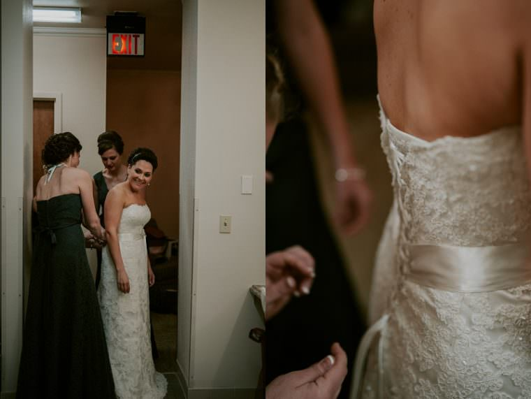 Getting Ready Photos in Bathroon, Indoor Wedding in Unique Wisconsin Venue - Appleton Wisconsin, Madison Wisconsin Wedding Photographer