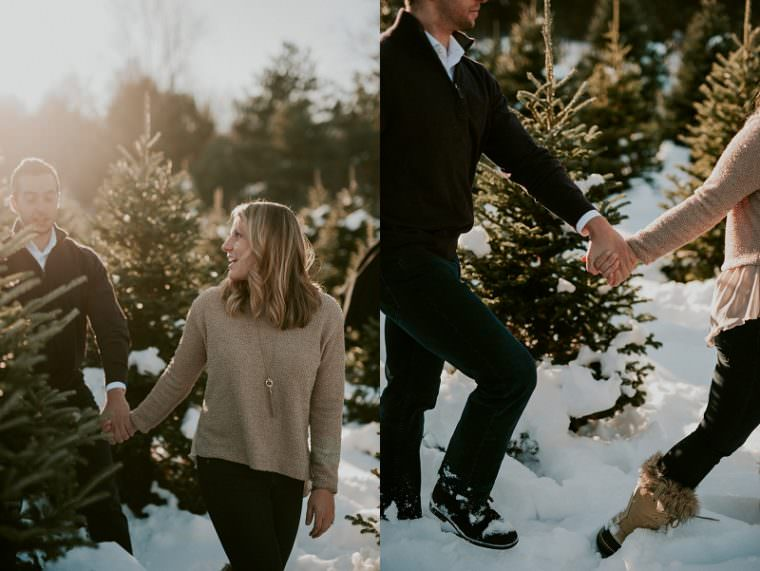 Winter Engagement on Tree Farm Wild Rose Wisconsin, Madison WI Wedding Photograpehr