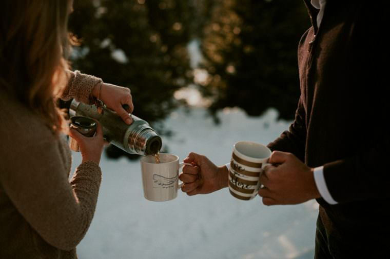 Coffee at Engagement, Winter Engagement on Tree Farm Wild Rose Wisconsin, Madison WI Wedding Photograpehr