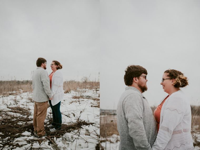 Snowy Spring Engagement Session at Pope Farms, Madison WI Engagement Session