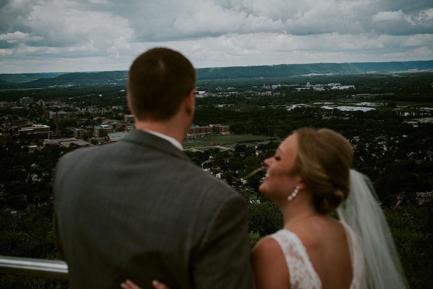 First Look on-top of Grand Dad's Bluff - La Crosse WI WEDDING PHOTOGRAPHER
