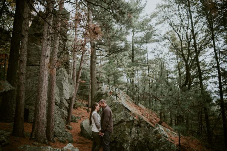 Rainy engagement session in the forest, Black River Falls WI