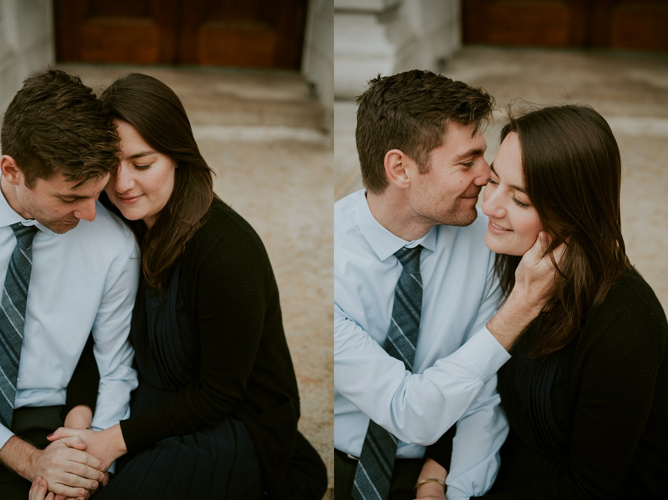 Downtown City Engagement Session - Madison WI Wedding Photographer - Natural Intuition Photography