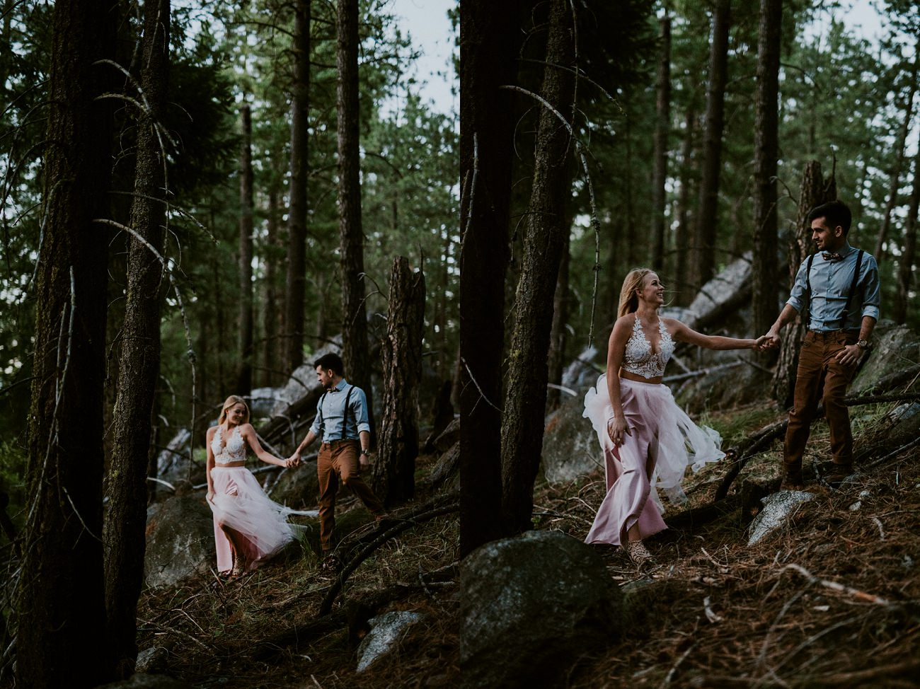 Military Couple Elopes in Leavenworth Washington on a mountain - natural intuition photography