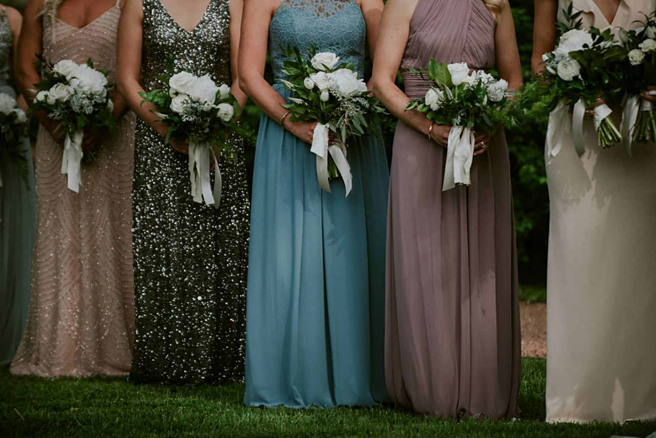Multi Colored Bridesmaid Dresses - Backyard wedding, Milwaukee Wisconsin Wedding Photographer - Natural Intuition Photography