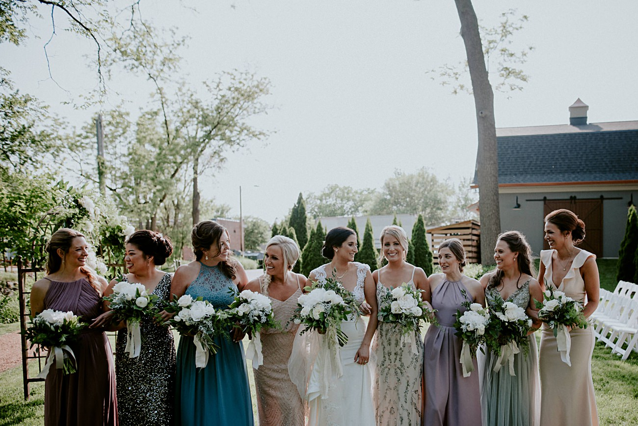 Wedding Party Photos, Multi Colored Bridesmaid Dresses - Backyard wedding, Milwaukee Wisconsin Wedding Photographer - Natural Intuition Photography