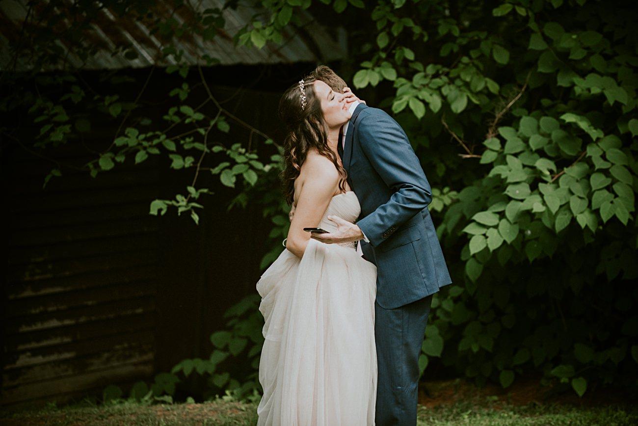Adventurous Bride, First Look Photos, Backyard Hilltop Wedding in Spring Green Wisconsin, Madison WI Wedding Photographer