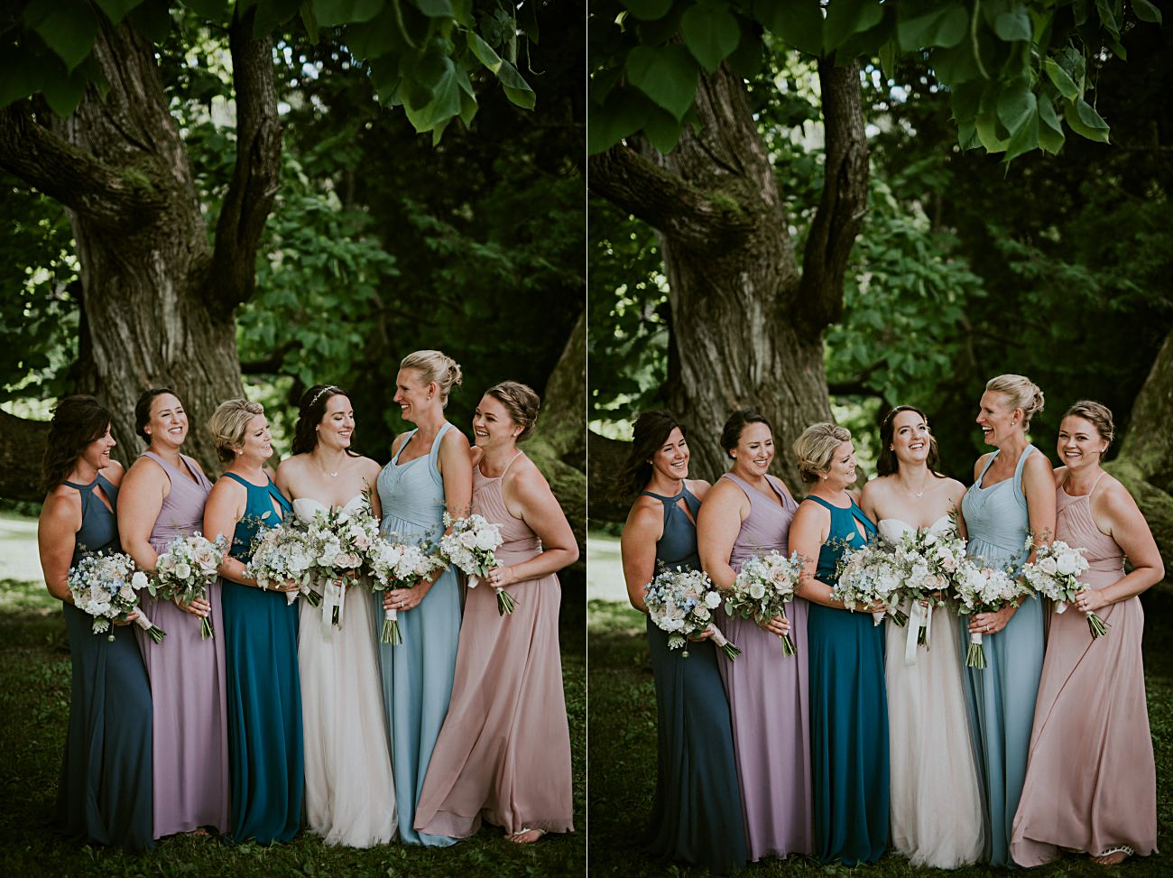 Mismatched Bridesmaid Dresses, Jewel Toned Bridesmaid Dresses, Backyard Hilltop Wedding in Spring Green Wisconsin, Madison WI Wedding Photographer