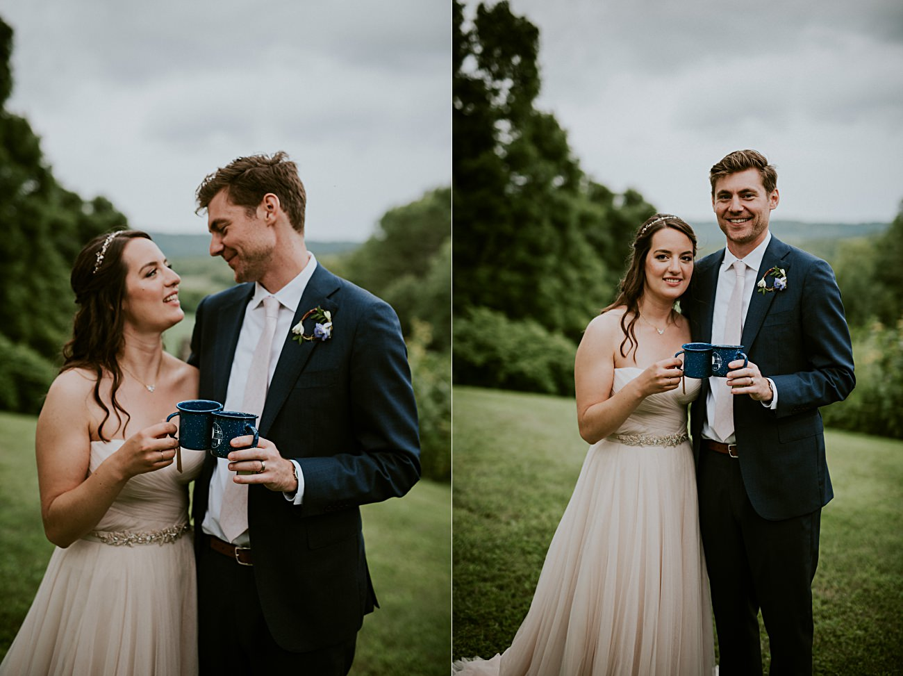 Navy Groom Suit, Bride and Groom Photos, Couples photos on wedding days, Stormy sky's, Blush wedding gown, Backyard Hilltop Wedding in Spring Green Wisconsin, Madison WI Wedding Photographer