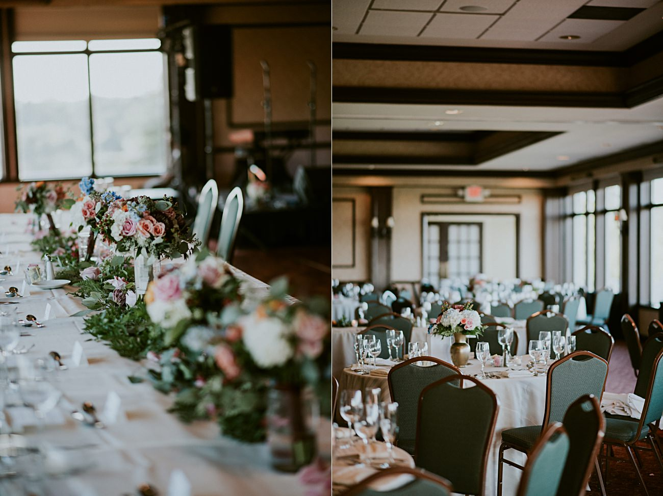 Blush Wedding Flowers, dinner by Candlelight, Geneva National Resort Wedding in Lake Geneva, Golf Course Wedding, Jewel Toned Wedding Dresses, Navy Suits for Groomsman - Lake Geneva Wisconsin Wedding Photographer - Natural Intuition Photography