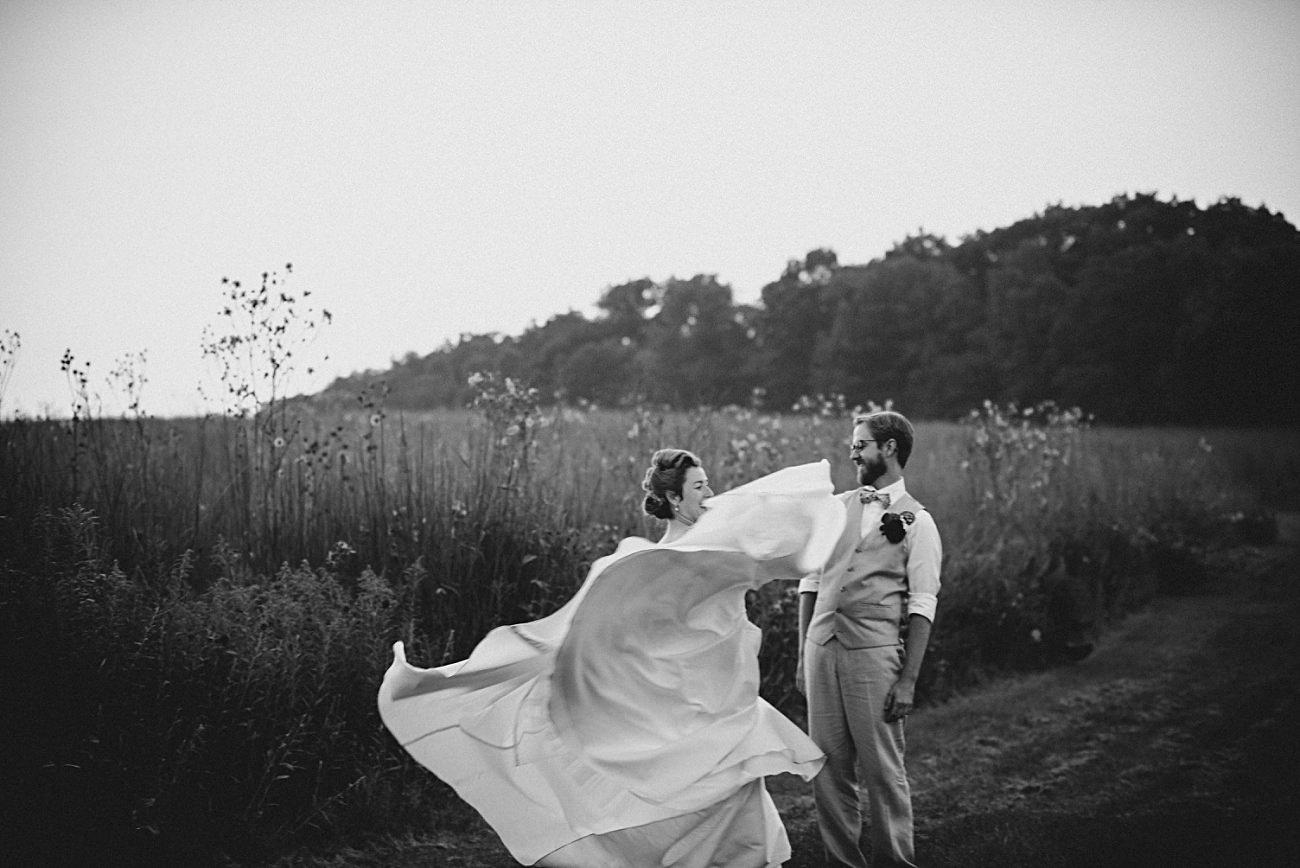 Golden Hour Wedding Party Photos, Weddings with Dogs, First Look, Mt Horeb Wisconsin Backyard Wedding - Madison Wisconsin Wedding Photographer