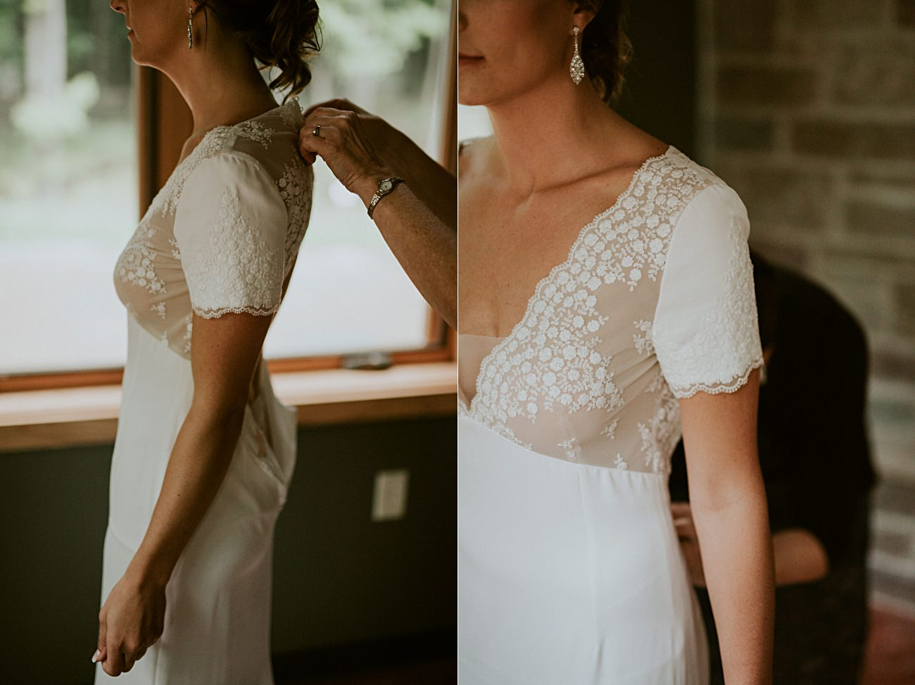 Bride getting ready, Rib Mountain Wedding in Wausau Wisconsin - Mountaintop Wedding, Wisconsin Wedding - Natural Intuition Photography