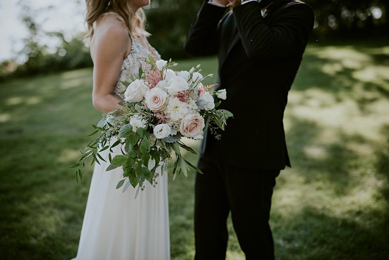 blush wedding bouquets, Lakeside wedding in Green Lake Wisconsin -Heidel House Wedding - Green Lake Wisconsin Wedding