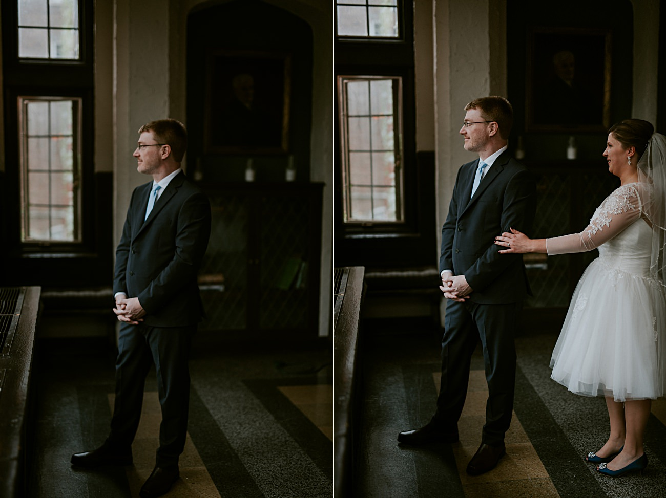 First Look Photos, Bride and Groom, Madison WI Wedding Photographer - Natural Intuition Photography