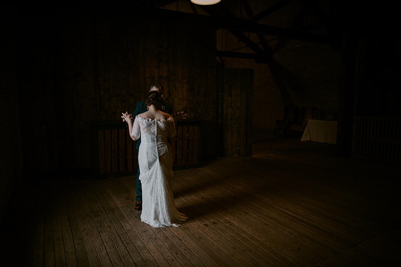 Winter Wedding, Lageret Wedding in Stoughton Wisconsin, Fall Wedding, Madison WI Wedding, Industrial Wedding, Moody Wedding, floral bridesmaid dress,