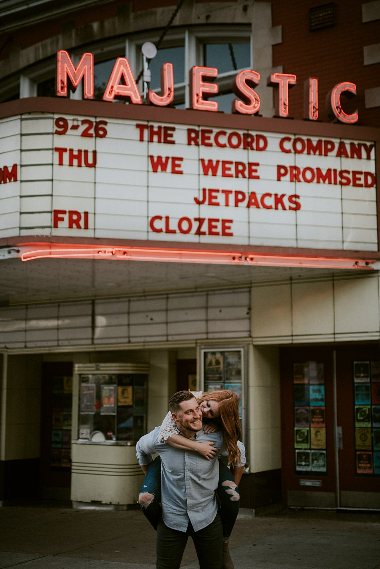 Theater Engagement, Downtown Engagement in Madison Wisconsin, Urban Engagement, Madison WI Wedding Photographer