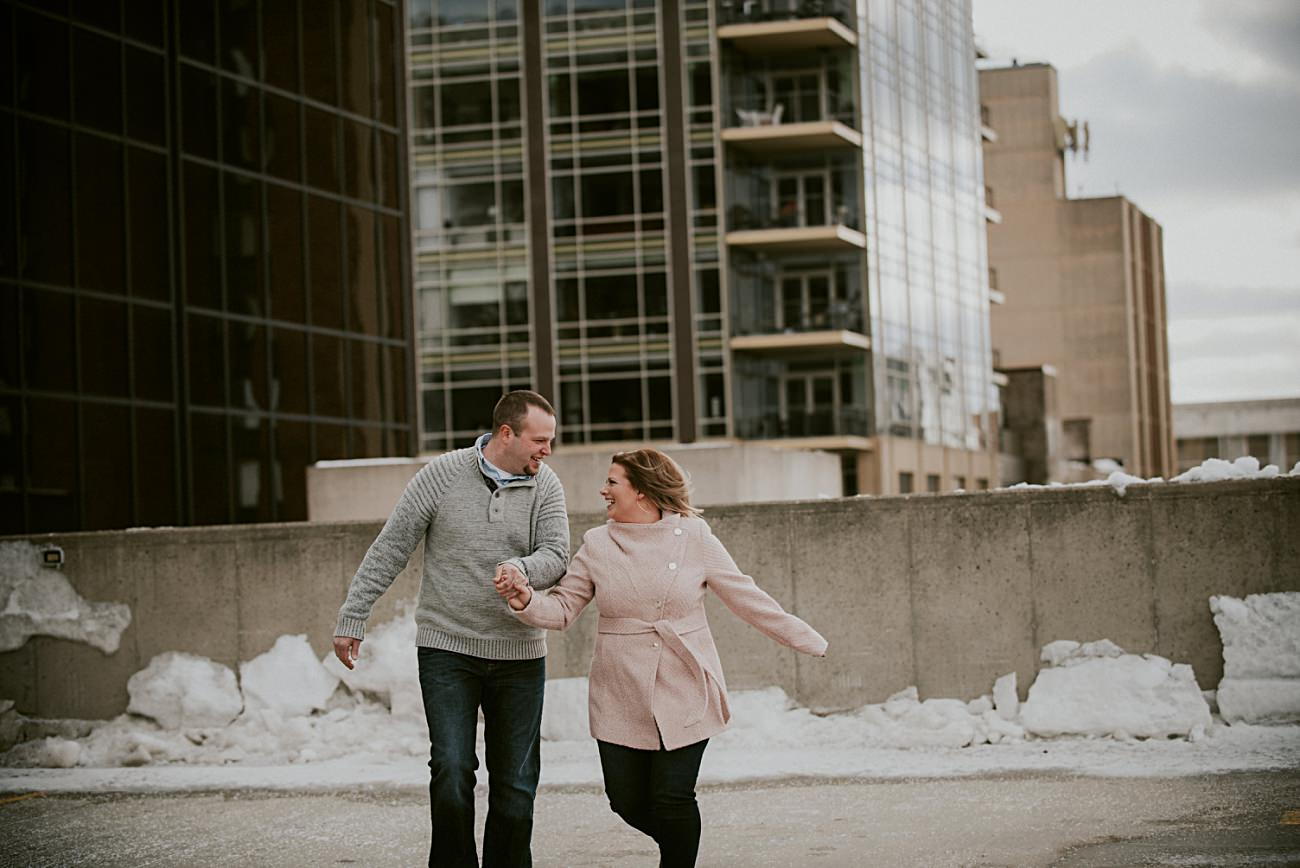 Rooftop Winter Engagement in downtown Madison Wisconsin, Wisconsin Wedding Photographer