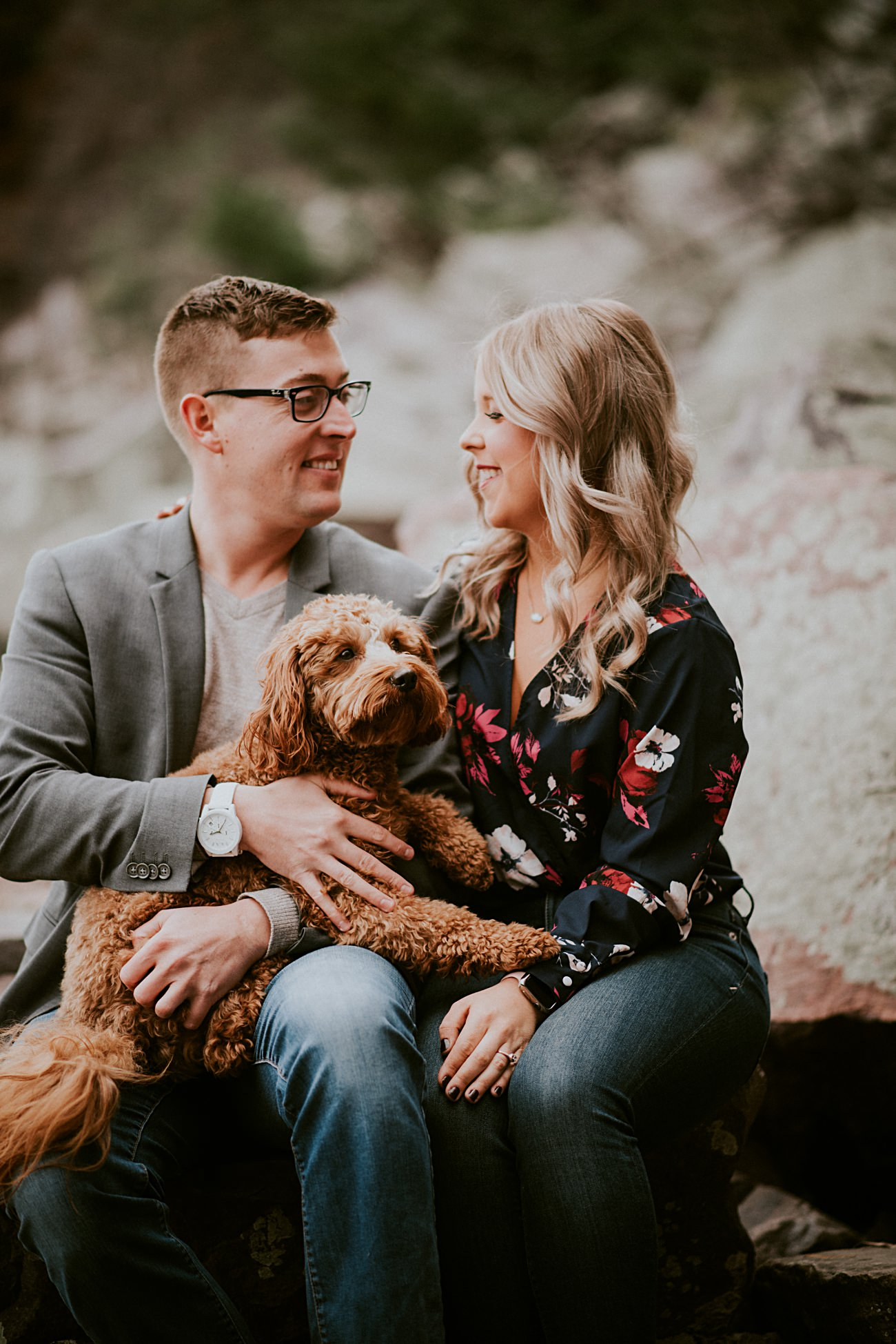 Engagement with Dogs, Bluff Engagement Session in Wisconsin, Madison WI Photographer