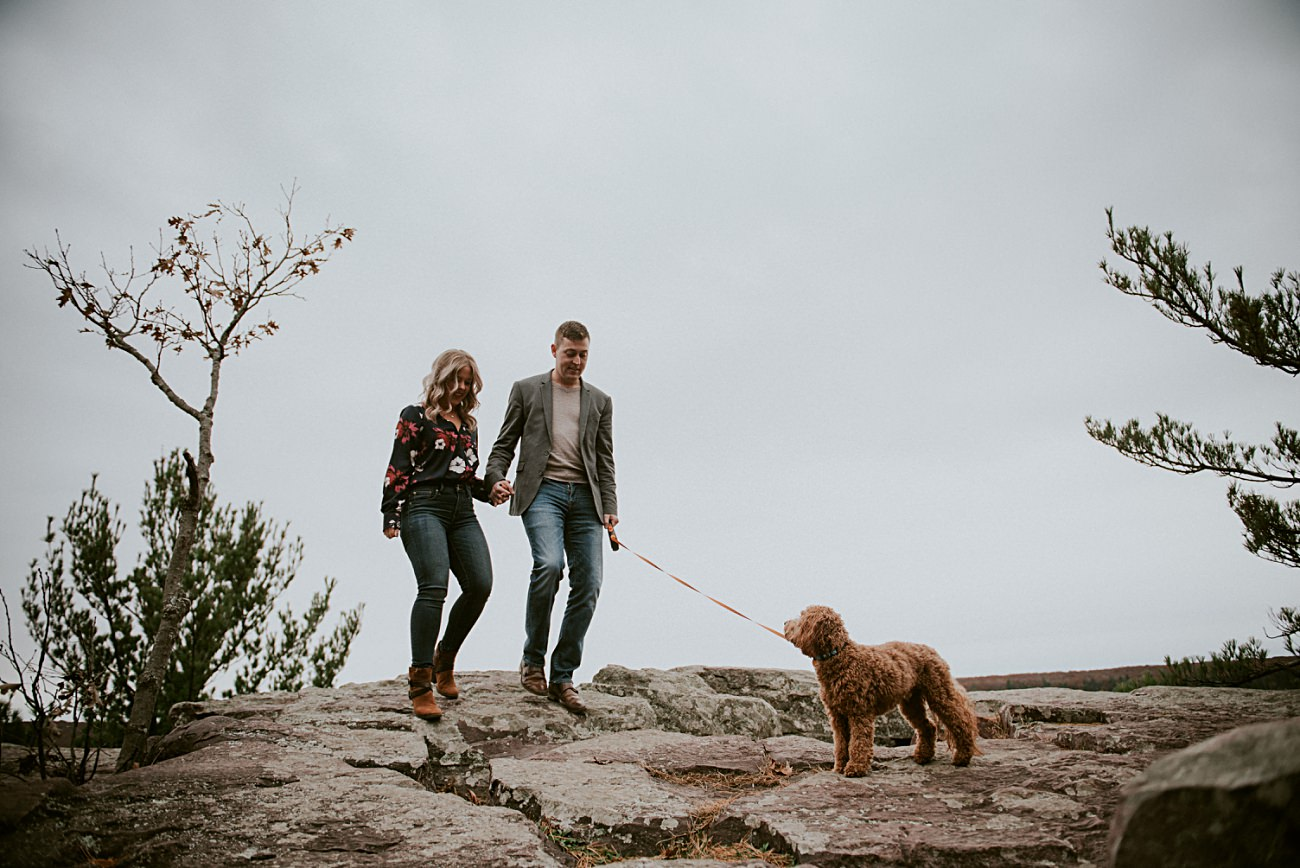 Labradoodle, Hiking Engagement, Engagement with Dogs, Bluff Engagement Session in Wisconsin, Madison WI Photographer