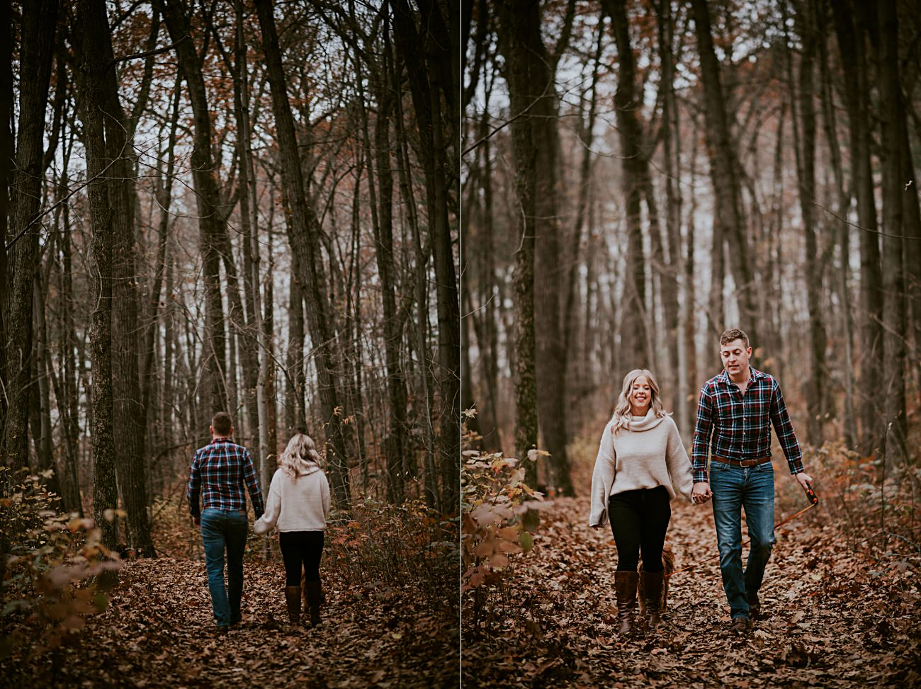 Fall Engagement, Woodsy Engagement, Mountain Engagement, Hiking Engagement, Engagement with Dogs, Bluff Engagement Session in Wisconsin, Madison WI Photographer