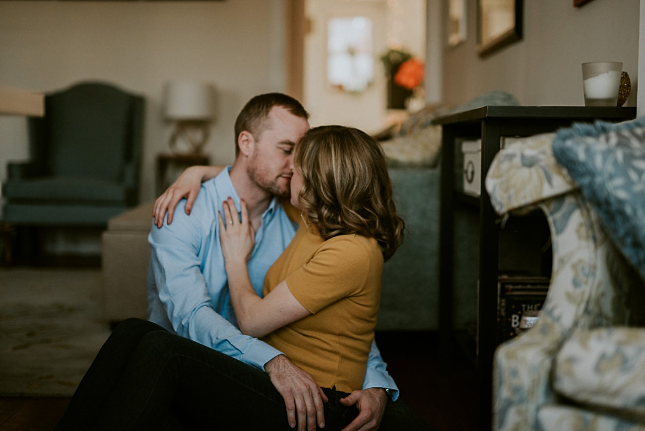 Chicago Illinois At home Engagement Session, Chicago Wedding Photographer