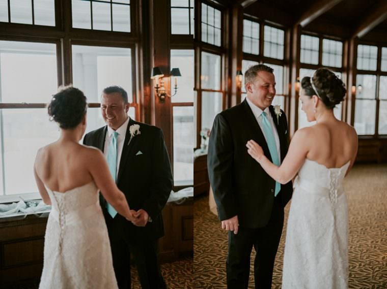 First Look Photos,, Indoor Wedding in Unique Wisconsin Venue - Appleton Wisconsin, Madison Wisconsin Wedding Photographer