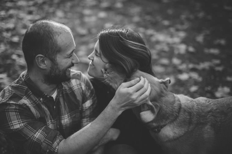 fall engagement with dog, engagement in the woods