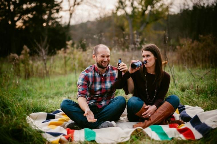 fall engagement with dog, engagement session with beer