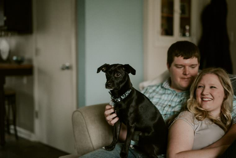 In Home Milwaukee engagement Session with dog, Milwaukee Wisconsin Photographer