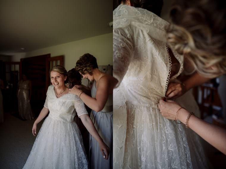 Bride in Grandmothers Dress, Wisconsin Barn Wedding, Backyard Wedding, Wild Rose Wisconsin