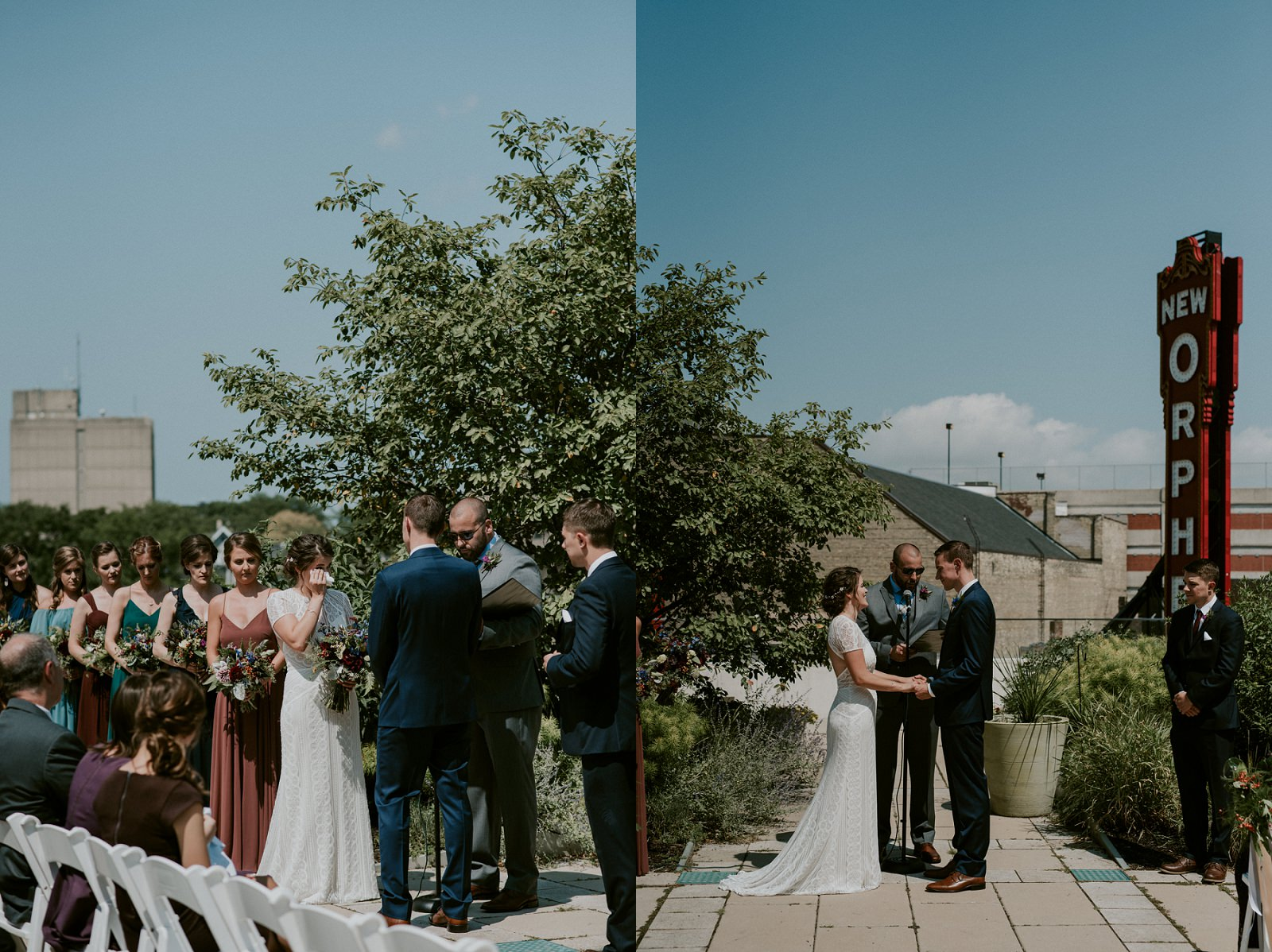 Madison WI Wedding Photographer, The Lageret Stoughton WI, Multi Colored Bridesmaid Dresses, Groomsman in Navy Suits, Jewel Colored Wedding