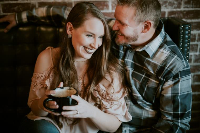 coffee shop engagement session, Black River Falls WI