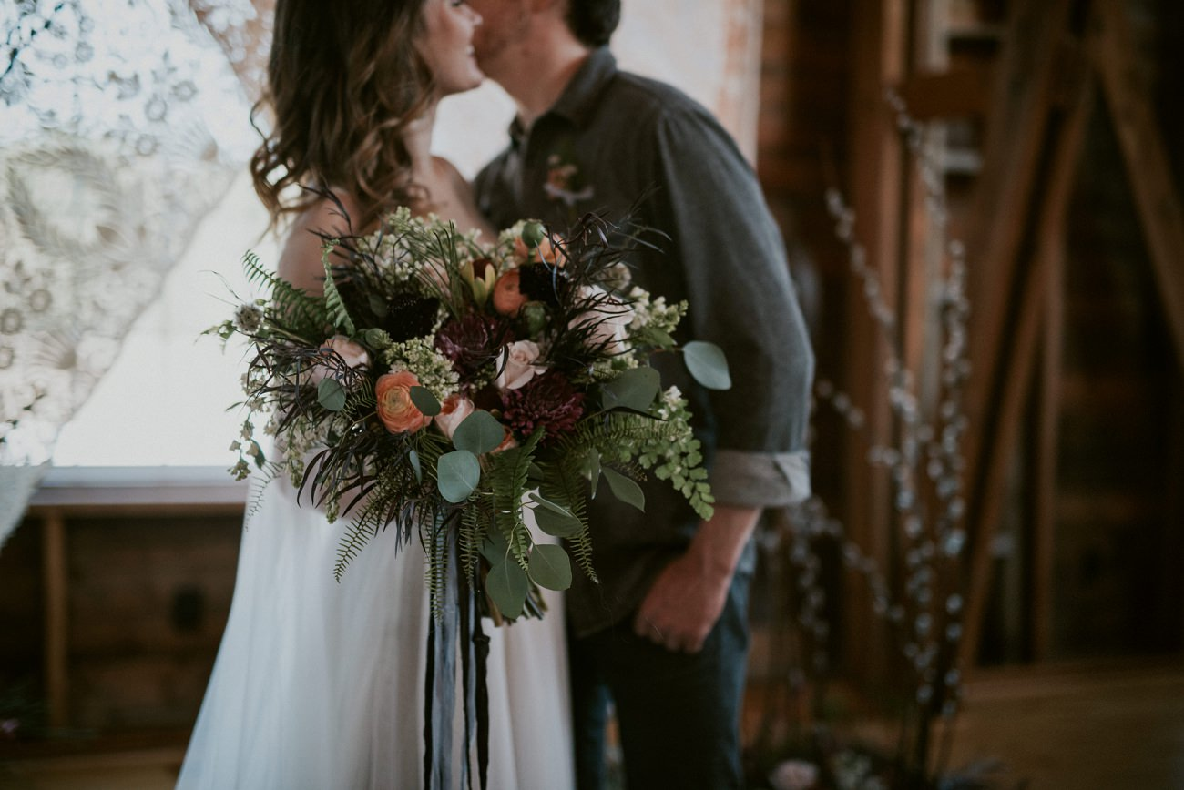 Moody Wedding - black plates, grey cake, dark floral - Wisconsin Photography Workshop - best in the state