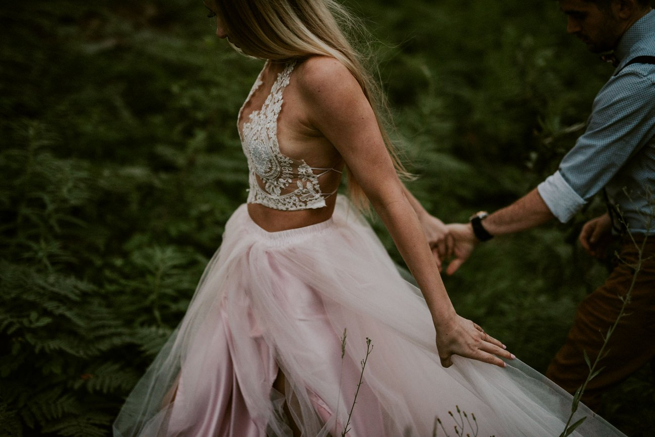 Pink two piece wedding gown, mountain elopement Washington state - natural intuition photography