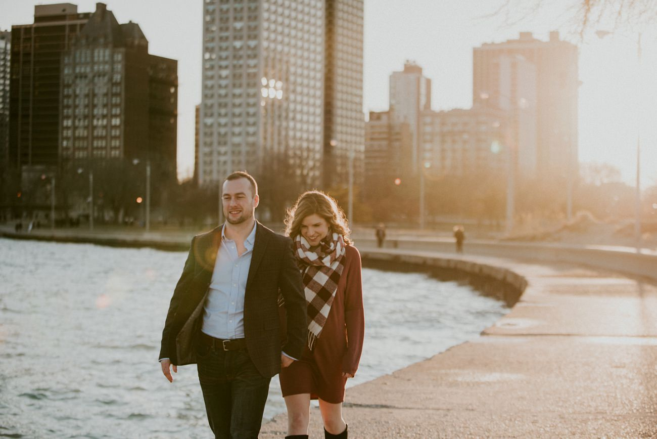 North Avenue Beach Downtown Chicago Engagement Session - Chicago Engagement - Chicago Wedding Photographer