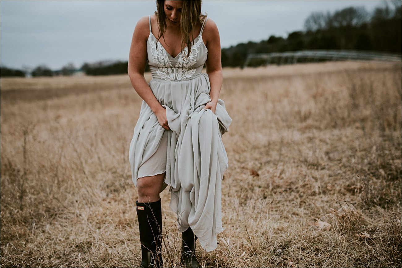 Bride in Hunter Boots -Magnolia Farms Wedding - Moody Wisconsin Wedding - Grey Wedding Dress - Natural Intuition Photography - Wisconsin Wedding Photographer