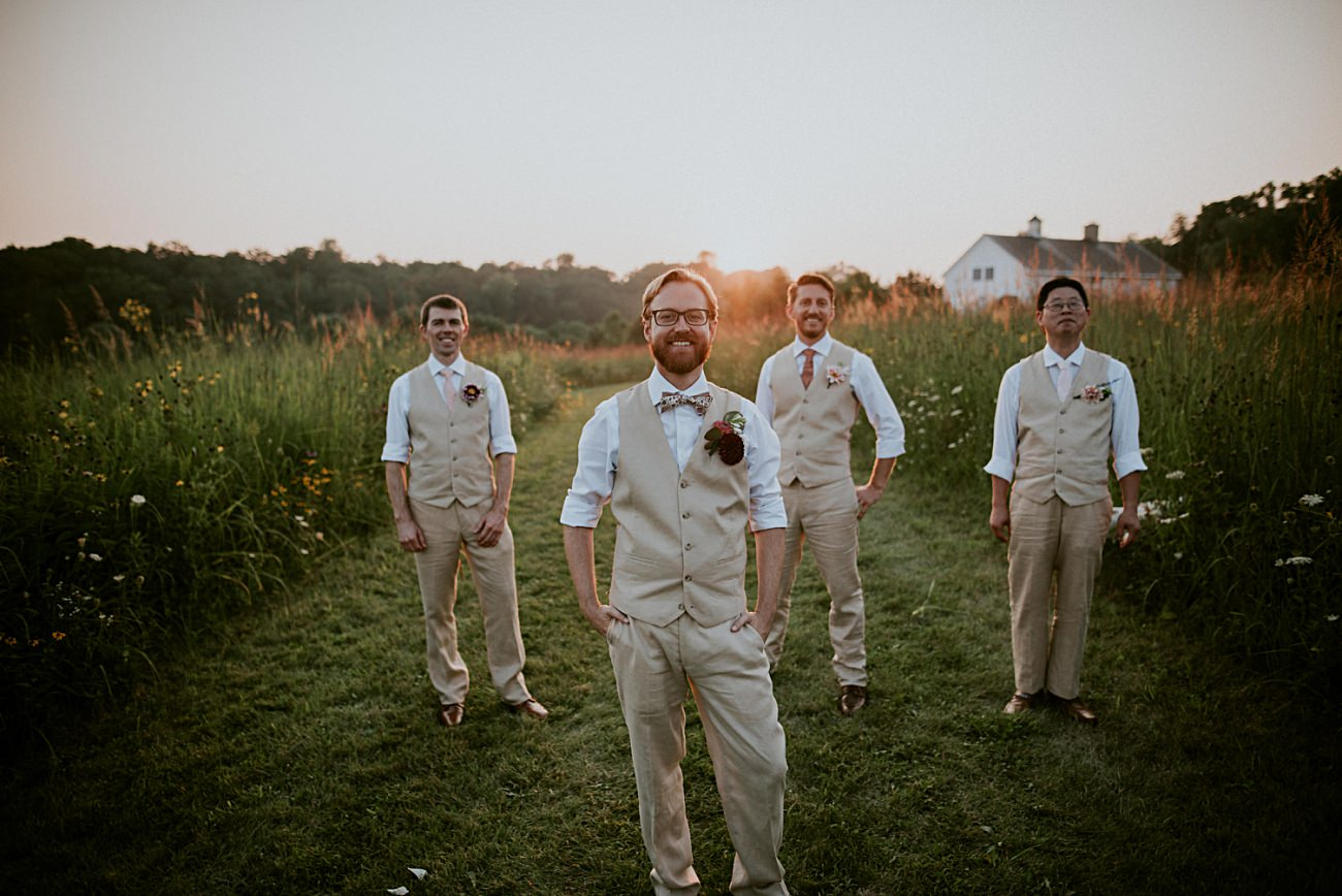 Golden Hour Wedding Party Photos, Weddings with Dogs, First Look, Mt Horeb Wisconsin Backyard Wedding - Madison Wisconsin Wedding Photographer