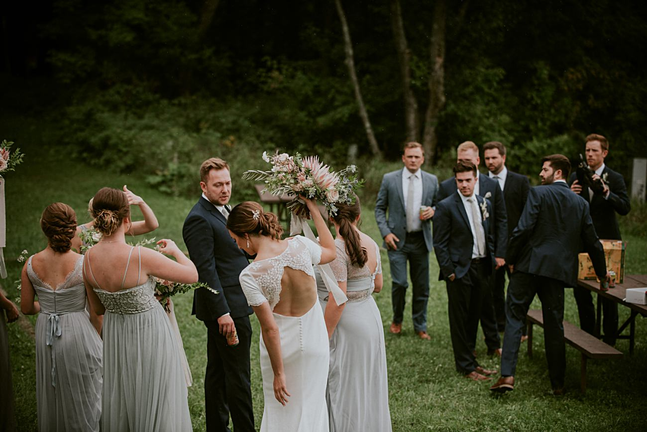 Wedding Party Photos on a Mountaintop, Mountaintop First Look Photos, Rib Mountain Wedding in Wausau Wisconsin - Mountaintop Wedding, Wisconsin Wedding - Natural Intuition Photography