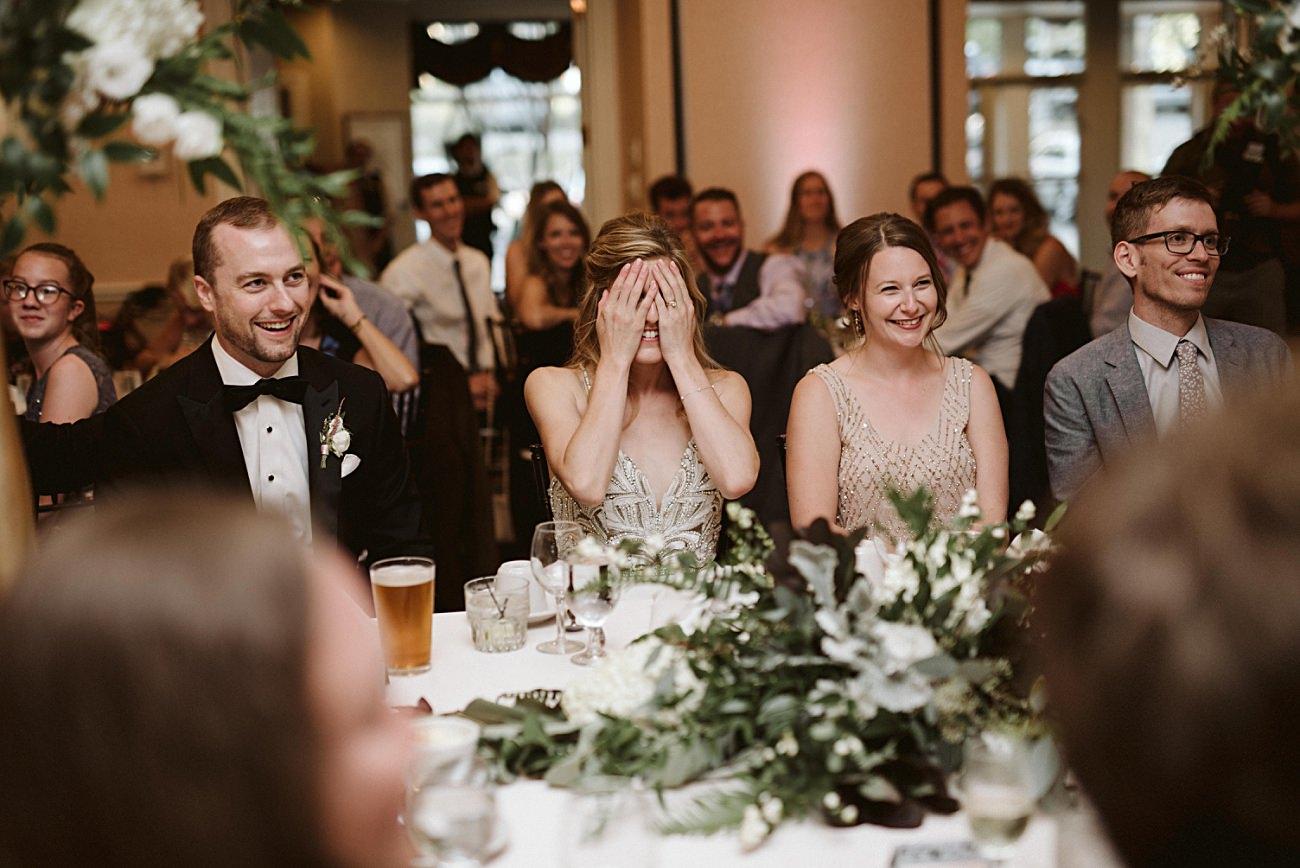 Reception toast photos, Elegant Ballroom Wedding, Gold & Blush Wedding, Lakeside wedding in Green Lake Wisconsin -Heidel House Wedding - Green Lake Wisconsin Wedding