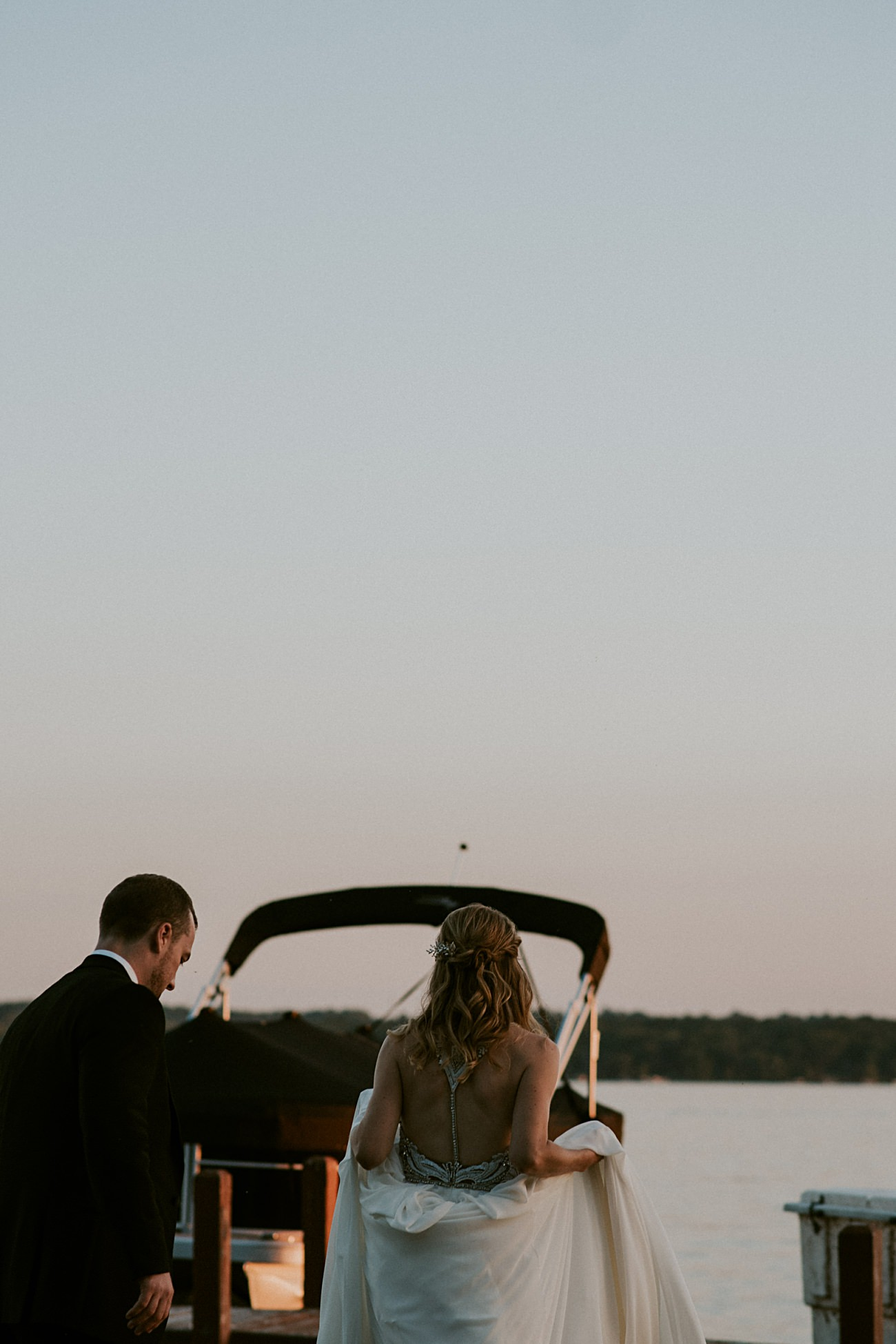 Lakeside bride and groom photos, sunset photos, Elegant Ballroom Wedding, Gold & Blush Wedding, Lakeside wedding in Green Lake Wisconsin -Heidel House Wedding - Green Lake Wisconsin Wedding