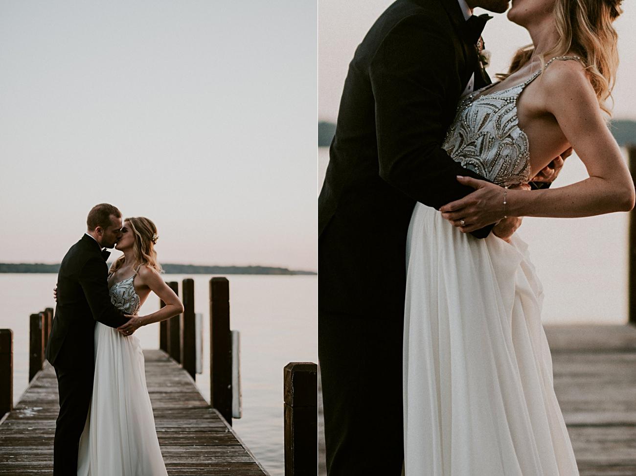 Lakeside bride and groom photos, sunset photos, Elegant Ballroom Wedding, Gold & Blush Wedding, Lakeside wedding in Green Lake Wisconsin -Heidel House Wedding - Green Lake Wisconsin Wedding