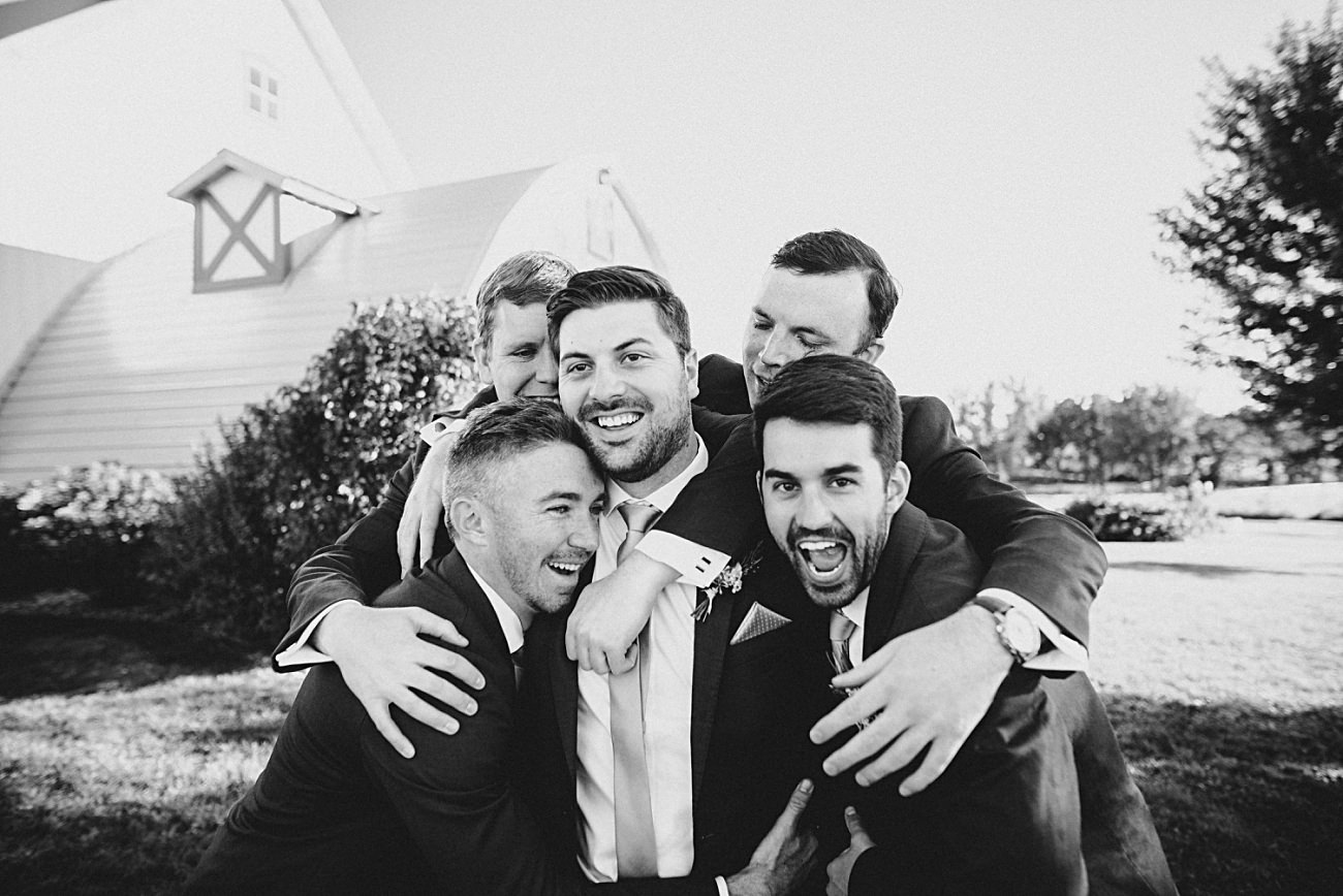 Groom with Groomsman, Lace Wedding Dress, Century Barn Mt Horeb Wisconsin Wedding, AC Hotel Madison WI, Barn Weddings, Madison WI Wedding Photographer