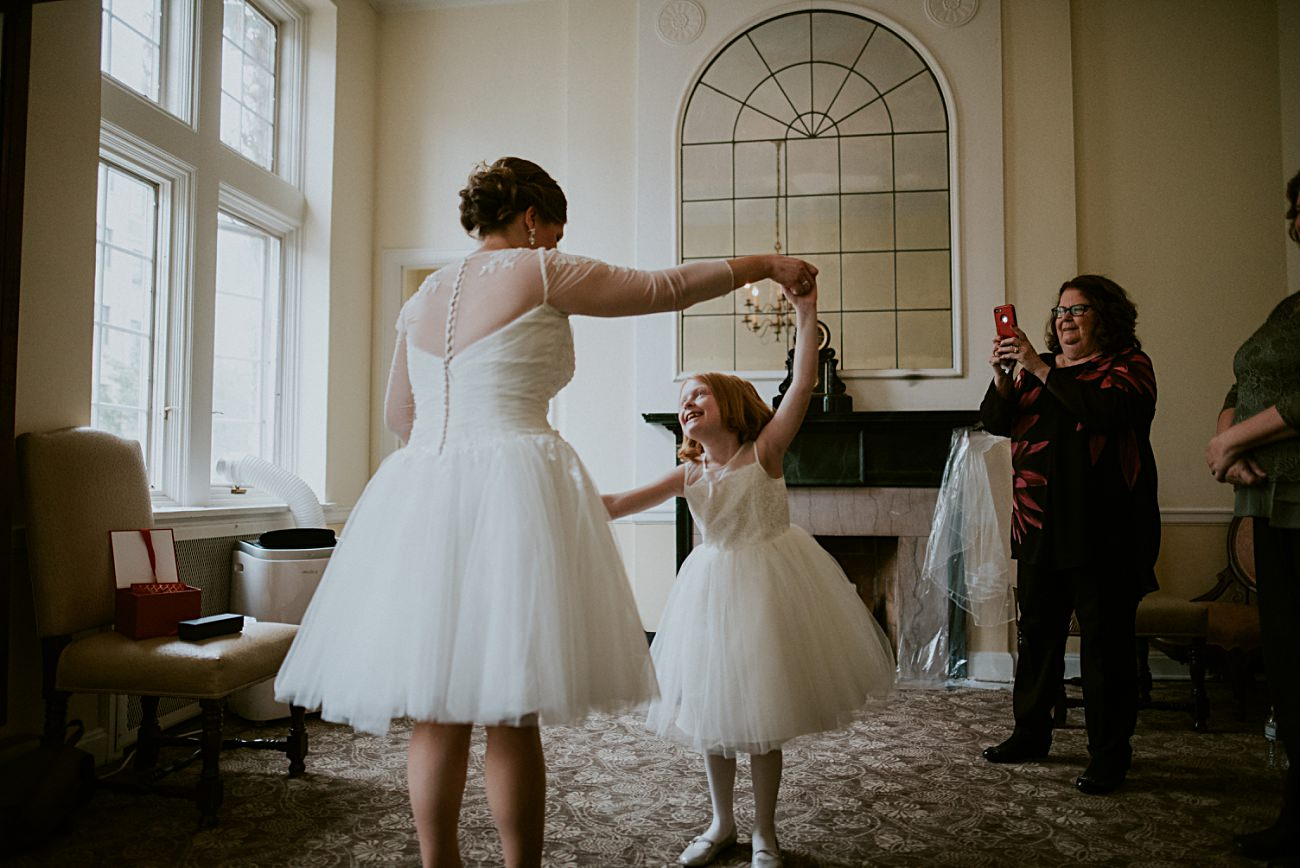 Bride getting ready with children - Madison WI Wedding Photographer - Natural Intuition Photography