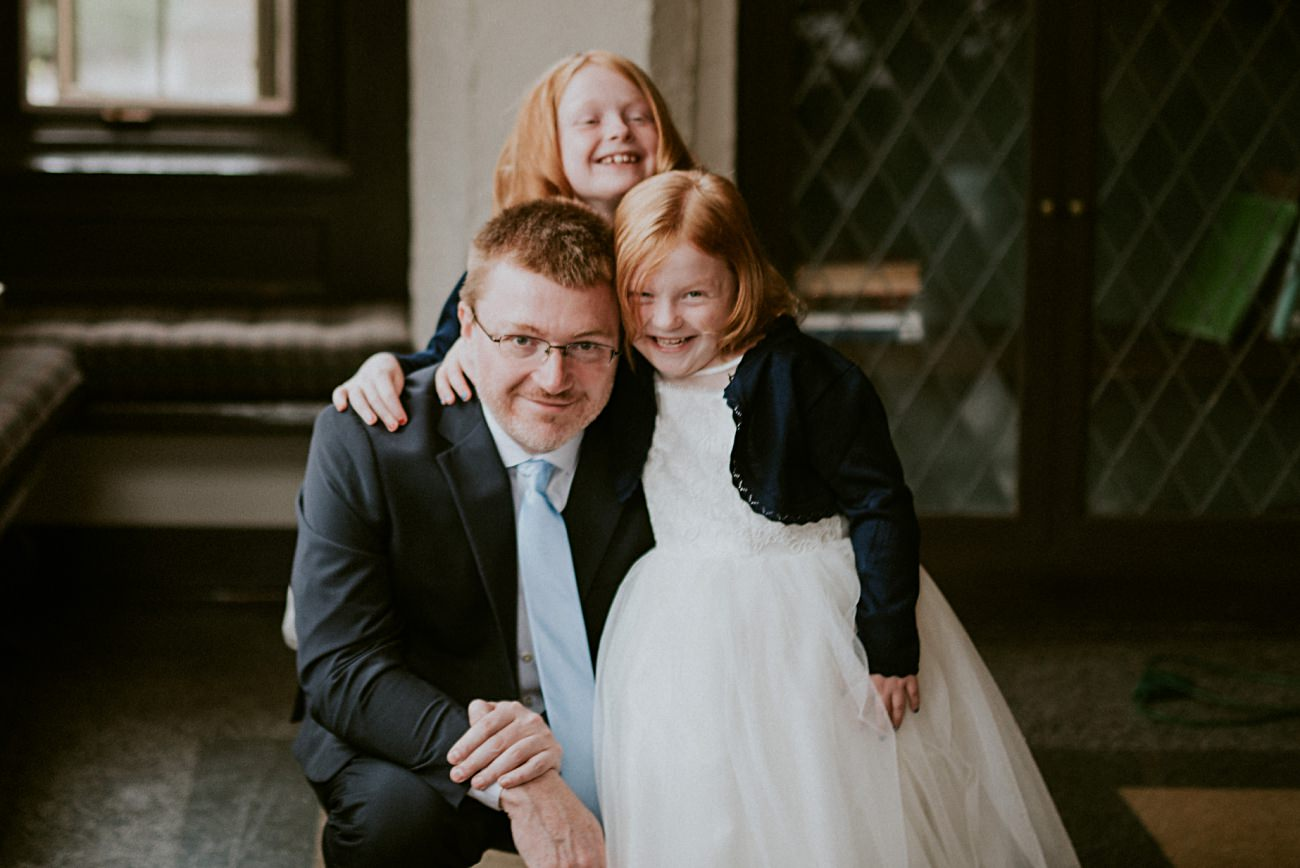 Dad with kids on wedding day, Madison WI Wedding Photographer - Natural Intuition Photography