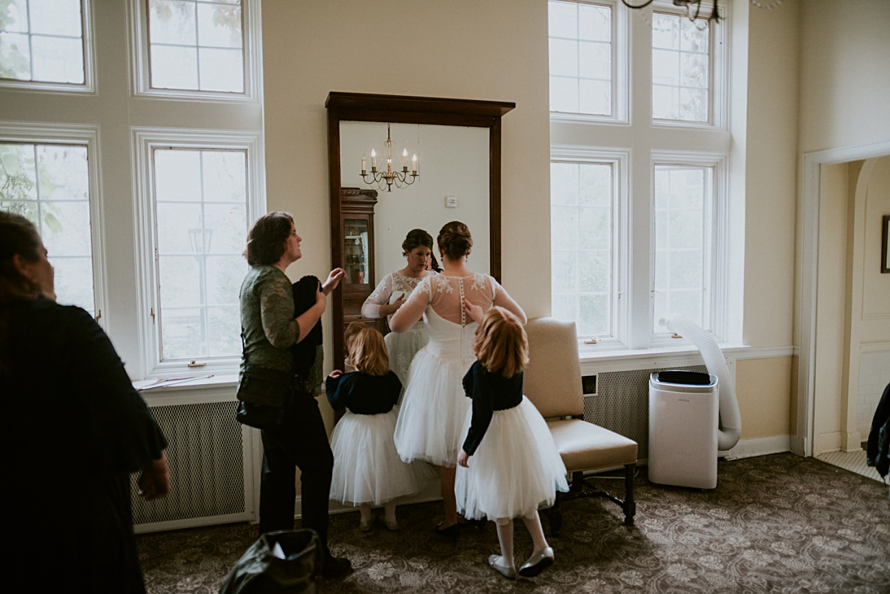 Bride getting ready with her kids, Madison WI Wedding Photographer - Natural Intuition Photography