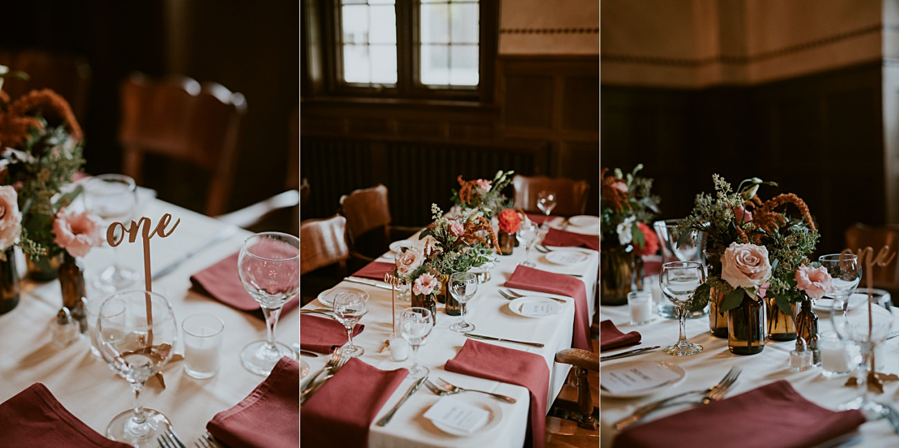 Maroon & White Wedding Colors, Daffodil Parker, Moody Reception, First Look Photos, Bride and Groom, Madison WI Wedding Photographer - Natural Intuition Photography