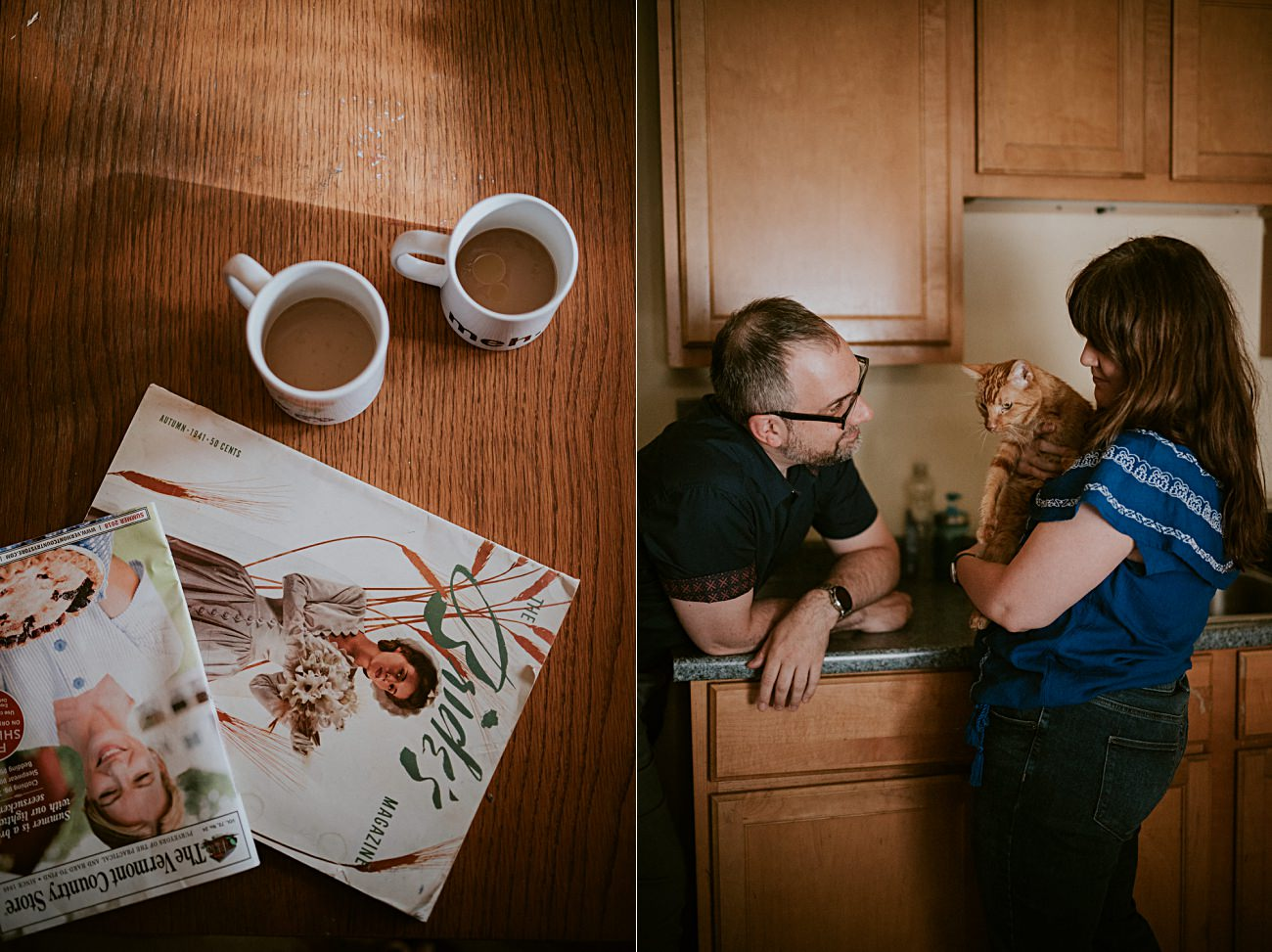 In home session, coffee making in the kitchen, milwaukee engagement session - milwaukee wedding photographer